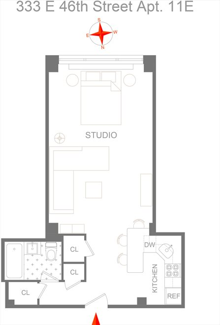 New York City Real Estate | View 333 East 46th Street, #11E | Floorplan