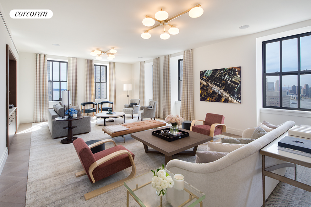 Close before Thanksgiving 2019 and Sponsor will cover all new increases in Transfer and Mansion Tax. Now available for immediate occupancy, Penthouse C is a 4 bedroom/4.5 bath loft spanning 4,254 SF. The residence also features a wrap around terrace offering 710 square feet of private outdoor space. Over 10 foot high ceilings, and 4 inch white oak floors create prewar proportions with a modern sensibility. The walnut-paneled entry doors open into a formal foyer leading to an expansive great room with North and West exposures, capturing arresting views of the iconic New York City skyline and Hudson River. The adjacent kitchen features custom cabinetry and hardware with Calacatta Gold marble counter tops and back splash, including an island with seating for five, and is fully equipped with state-of-the-art appliances by Sub-Zero, Wolf and Miele, as well as a garbage disposal and vented range hood. Beyond the eat-in kitchen is a versatile den that could easily be used as a formal dining room, library or media area. The master suite features Hudson River views, two large walk-in closets and a luxuriously finished master bath with radiant floor heating, polished Calacatta Gold marble floor and wall tiles, custom vanity, fixtures and deck-mounted tub by Waterworks, and a steam shower. The secondary bedrooms offer generous closet space and en-suite baths, combining high-honed Vanilla Cream marble vanity top and herringbone floor tile with crackle-glazed white ceramic wall tile. A secondary service entrance creates convenient access to the kitchen. The laundry room features a washer and vented dryer by LG, as well as built-in cabinets and sink. No detail was overlooked in the design of this residence with a multi-zone heating and cooling system that carefully controls the interior climate throughout. One Hundred Barclay features over 40,000 square feet of residential amenities including two swimming pools, four shared outdoor spaces, a large playroom designed in collaborati