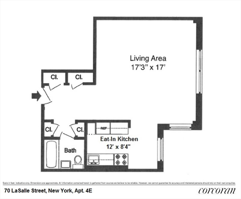 New York City Real Estate | View 70 LASALLE ST, #4E | Floorplan
