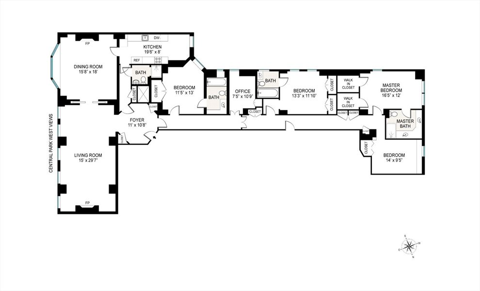 New York City Real Estate | View 50 Central Park West, #4AD | Floorplan