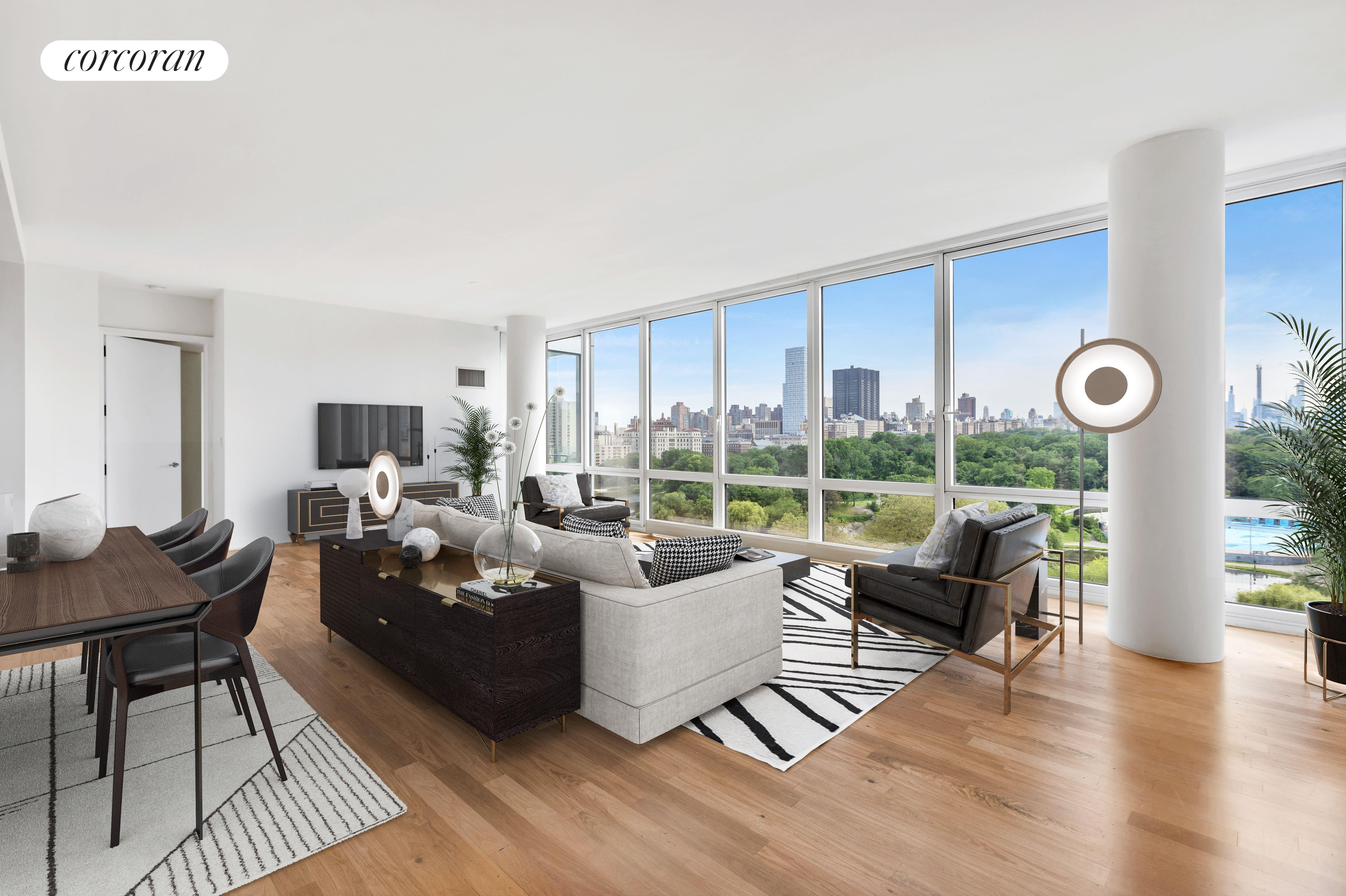 Entering this bright split two bedroom and two and a half bathroom residence, Central Park views through the floor-to-ceiing windows become the immediate focal point. All rooms (except the bathrooms) face South over Central Park with the Central Park South and Billionaire Rows skyline at the horizon.  The apartment has Oak hardwood floors throughout.  A unique 48 SF balcony can be entered through the master bathroom.  Off the sun-flooded living room is the kitchen with a Statuary Marble countertop, Wenge cabinets, and all Viking appliances, such as dishwasher, oven range, fridge and microwave.The bright master bedroom has a walk-in closet and the ensuite master bathroom features a Calcutta marble vanity top, double sink, shower and full soaking bathtub. The washer/dryer is off the powder room. 111 Central Park North Condominium features 24/7 doorman, concierge, live-in super, second floor common roof deck, gym, party/play room and cold storage. With only 43 units, the building has a boutique feel to it. It is ideally located. Central Park is just across the street. The 2/3 train entrance is right there at the corner of Central Park North and Lenox. The 5th Avenue and Madison Avenue bus stops are in front of the building. The location is 15/20 minutes to Times Square and Lincoln Center. Lasker Rink (and Pool), the Dana Discovery Center, St John the Divine, Museum Mile, and the Conservatory Garden are in close proximity as are George Washington Bridge, Triborough Bridge, and all roads to New Jersey, Connecticut, and Upstate New York which allows for a quick escape out of Manhattan. Parking Spot included. Pets are allowed.