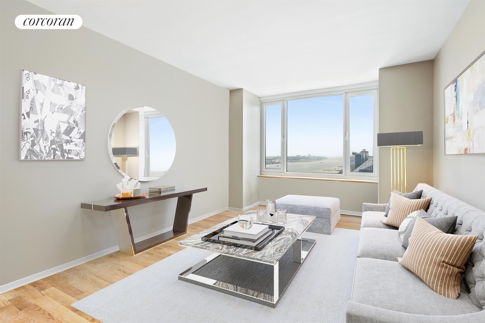635 West 42nd Street, 37D, Virtually Staged Living Room