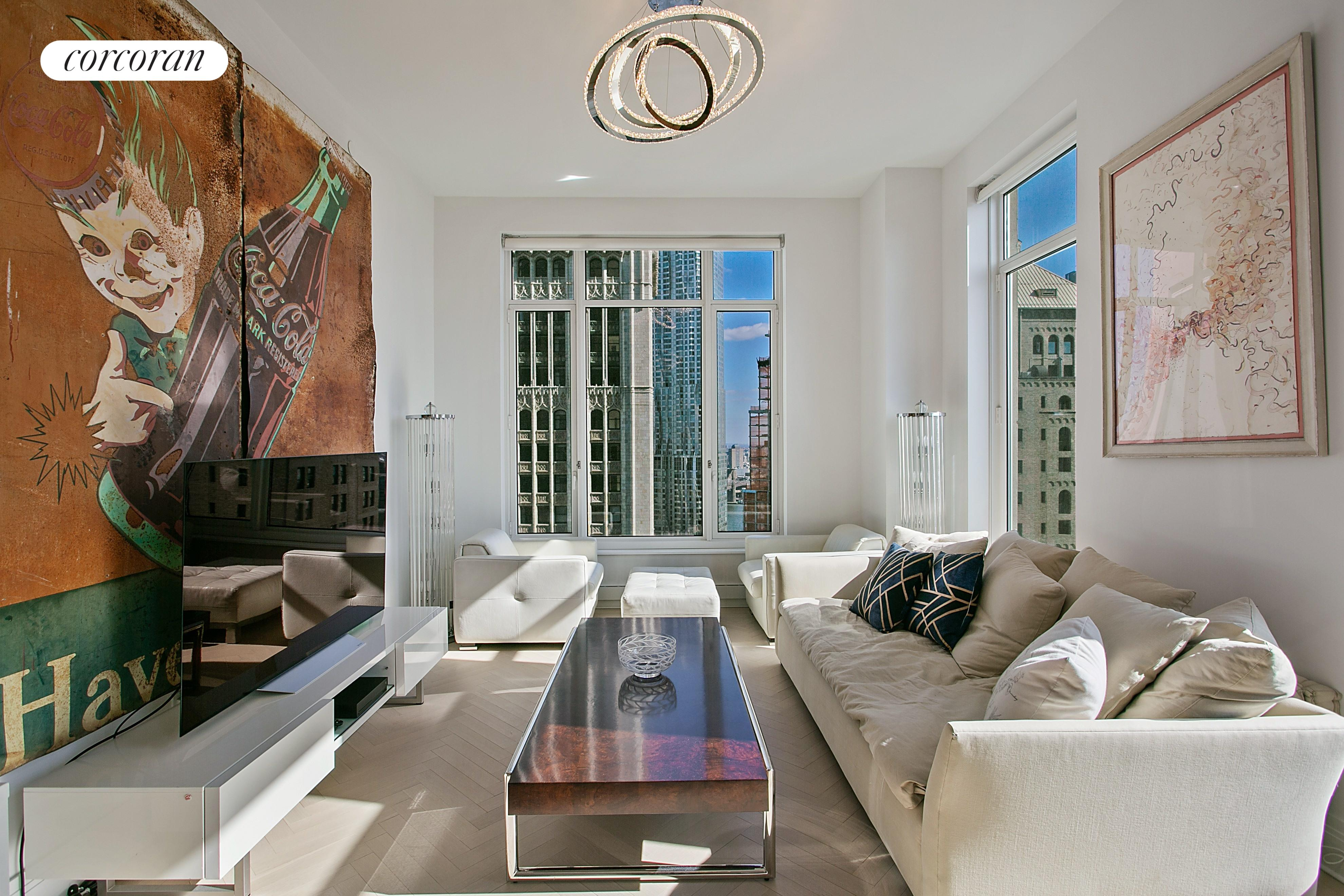 Incredible opportunity to rent  Apartment 52C (1543 sf ) plus Accessory suite 39E (501 sf) at 30 Park Place. Apartment 52C features 2 bedrooms and 2.5 bathrooms. Located on the southeast corner, this residence features brilliant light and dual exposure views from a corner Living/Dining Room and corner Master Bedroom Suite. Generous storage is provided through 3 walk-in closets. Welcome to 5-star living at 30 Park Place, Four Seasons Private Residences New York, Downtown. Accompanying this apartment is Suite 39E. This is a unique opportunity to purchase an accessory suite in the Four Seasons Private Residences New York Downtown at 30 Park Place. This west facing studio suite has a kitchen washer/dryer and one bathroom with west facing river views. Developed by visionary Silverstein Properties, Inc. Masterfully designed by Robert A.M. Stern Architects. Services by legendary Four Seasons Hotels and Resorts. With residences beginning on the 39th floor, the sweeping views are unparalleled. Residents may enjoy access to Four Seasons Hotel amenities including a spa and salon facilities, 75' swimming pool, attended parking garage, restaurant, bar and lounge, ballroom facilities, and meeting rooms, as well as a comprehensive suite of a la carte services. The 38th floor is devoted to private residential amenities including a fitness center and yoga studio, private dining room, conservatory and lounge with access to loggias, Roto-designed kid's playroom, and screening room. Interior finishes include solid oak wood flooring with herringbone pattern in the formal rooms, Bilotta rift-cut oak kitchen cabinetry, Gaggenau appliances, marble bathrooms with Robert A.M. Stern custom-designed vanities.
