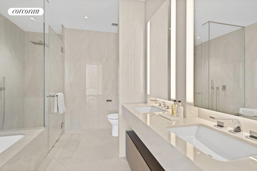 Marble Bath with Soaking Tub and Shower Stall