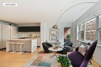 New York City Real Estate | View 20 Sutton Place South, #11B | Open Kitchen/Living Room Flooded with morning sun