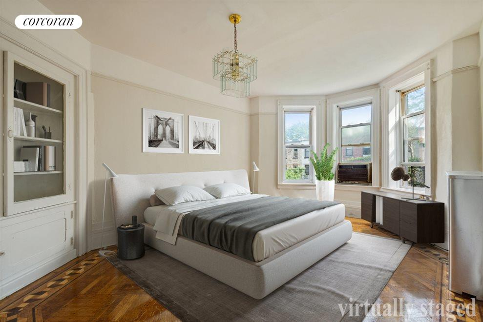 Virtually staged bedroom.