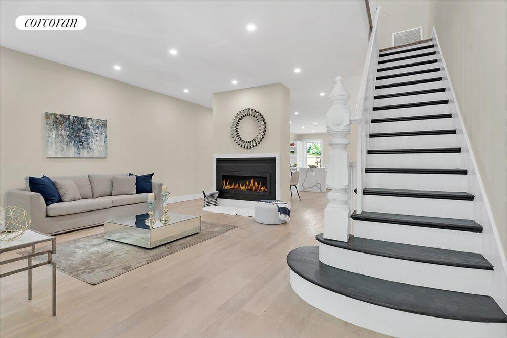 Living Room w/ White Oak & Fireplace Detail