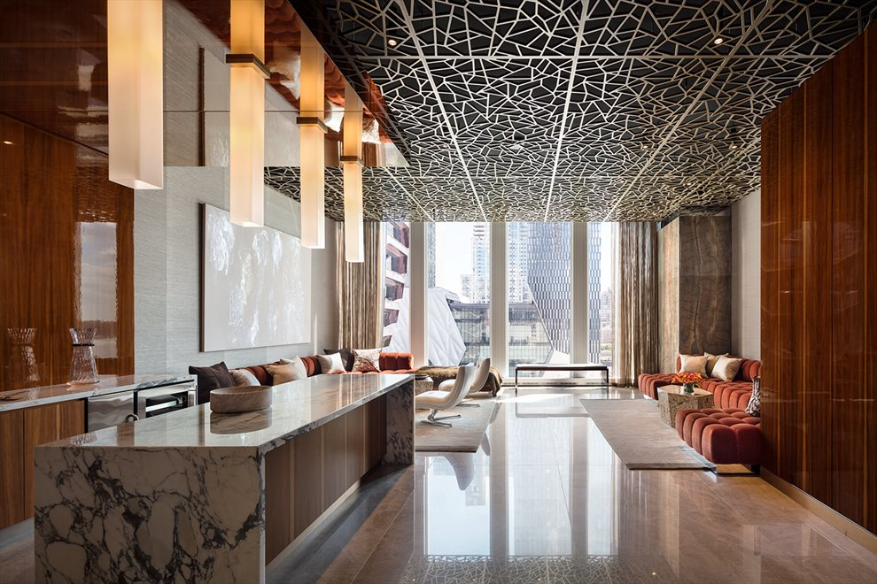 New York City Real Estate | View 35 HUDSON YARDS, #8603 | Cocktail Lounge with views of Vessel