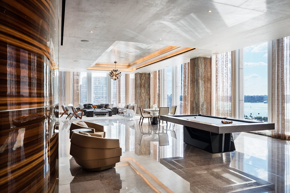 New York City Real Estate | View 35 HUDSON YARDS, #8603 | Lounge with billiards table