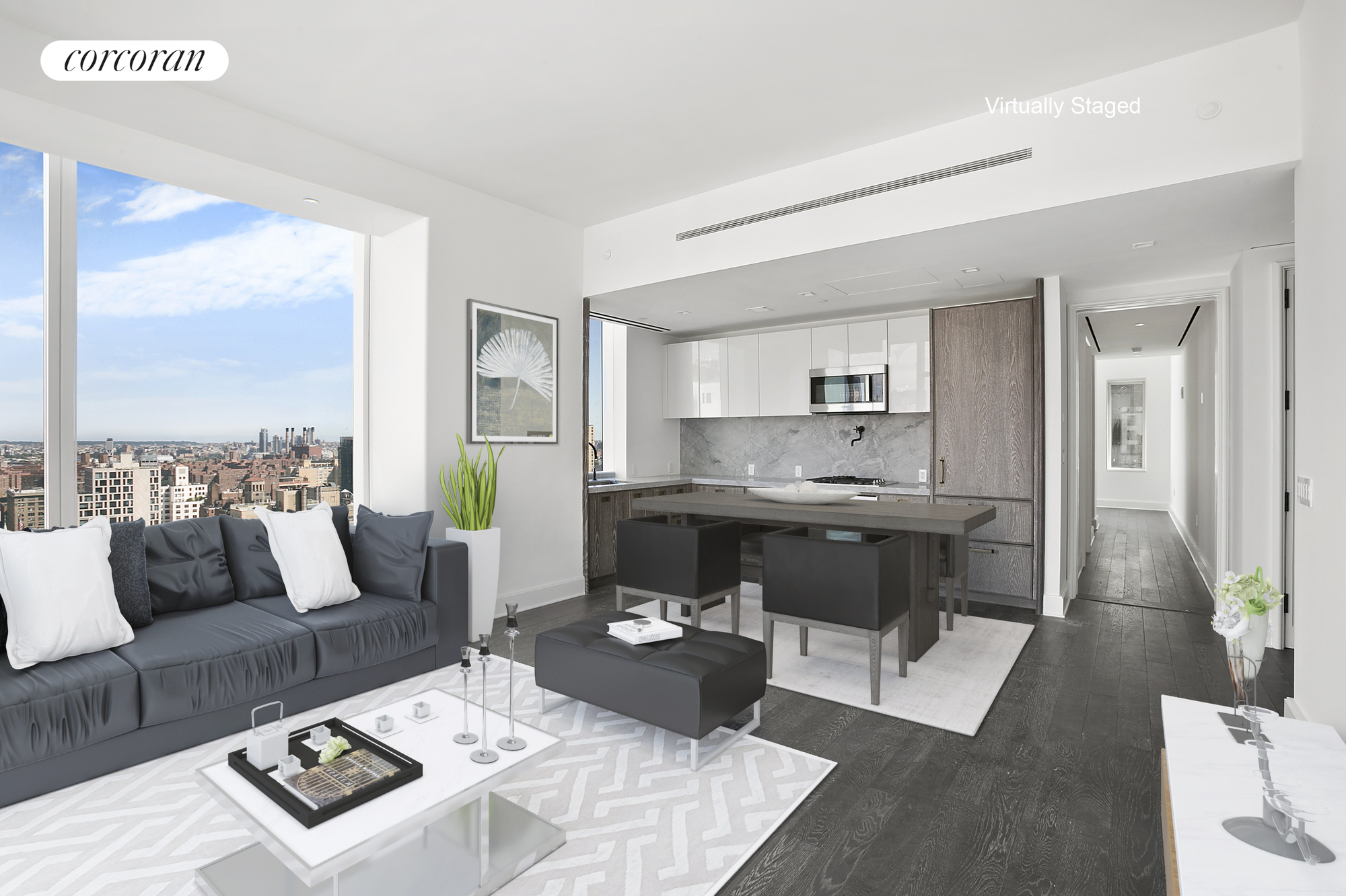 Welcome to this breathtaking two bedroom residence featuring floor-to-ceiling windows with stunning Midtown skyline views and three exposures to the North, East and South. These Floor-to-ceiling windows with high ceilings offer a dramatic cityscape that includes the Empire State Building, Chrysler Building, the clock tower at 1 Madison Avenue, the East River, and Madison Square and Gramercy Park.A great floor-plan, walks you right into a very large and spacious living/dining room and open kitchen complete with marble countertops and backsplash, Nanz hardware, Sub-Zero and Miele appliances, and solid white oak lower cabinetry.The views continue to both bedrooms located on opposite wings of the apartment. The Master Bedroom has an extra large walk-in-closet, and southern exposure with views all the way to the Brooklyn Bridge.The Bathrooms are also a sight! A beautiful selection of marble, custom wood vanities, recessed medicine cabinets, Waterworks fixtures, enclosed showers and a soak in jacuzzi tub in the Master-bath.The residences at Madison Square Park Tower are perfectly positioned in one of the most iconic and culturally sophisticated neighborhoods in Manhattan- the Flatiron District at Madison Square Park. Transforming the downtown skyline, the building's glass silhouette stands sixty-five stories and rises seven hundred and seventy seven feet in the sky.The condo's amenities are also top notch. Located throughout five floors, you'll have access to a state of the art fitness center with boxing and private training suite, a golf simulator, a basketball court, kid's playroom, library, billiards, cards room, terrace with outdoor grill, and two gracious entertaining spaces including a fifty-fourth floor lounge.