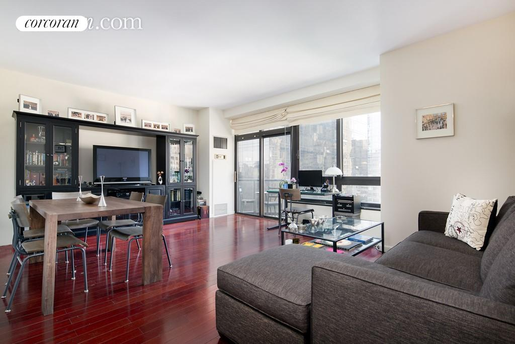 Sun-filled and meticulously renovated 1 bedroom, 1 bathroom with 2 private balconies for rent at 100 United Nations Plaza.Unit 16C at 100 United Nations Plaza is a spacious, south-facing unit that has been updated throughout boasting Brazilian cherry wood floors, 9 ceilings, oversized windows and custom closets. The large living room will easily accommodate separate living and dining areas and with direct access to the balcony, it is perfect for entertaining guests while enjoying the city skyline and views. The modern kitchen has been beautifully renovated and features custom cabinets, black granite countertops offset with white, basket-weave tile backsplash and a suite of high-end appliances including a dishwasher, from Sub-Zero, Miele and Viking. The spacious bedroom also faces south and has a wall of custom closets and access to the 2nd private balcony. Just across the hall is the updated marble bathroom with fixtures from Waterworks and a Jacuzzi bathtub. Located on East 48th Street and First Avenue, 100 United Nations Plaza is a white-glove, full service condominium in Manhattan's Turtle Bay neighborhood. Greeting residents with beautifully landscaped gardens and waterfalls, this impeccably run building offers a 24-hour doorman, valet and concierge service, on-site management office, renovated lobby and resident's lounge, common laundry room, fitness center and direct access to a 24-hour attended parking garage. Conveniently located to transportation and many great shops, restaurants and neighborhood conveniences. Showing by appointment only. Available for October 7th start date. Sorry no dogs.