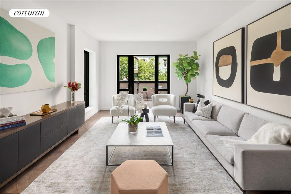 Corner Living Room that opens to Private Terrace
