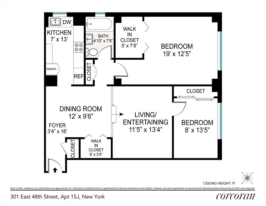 New York City Real Estate | View 301 East 48th Street, #15J | Floorplan 2
