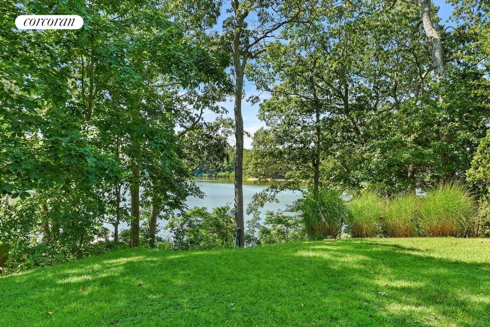 Lawn leading down to private dock