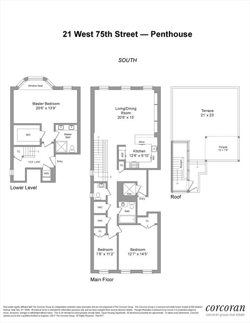 New York City Real Estate | View 21 West 75th Street, #PH | Floorplan 1