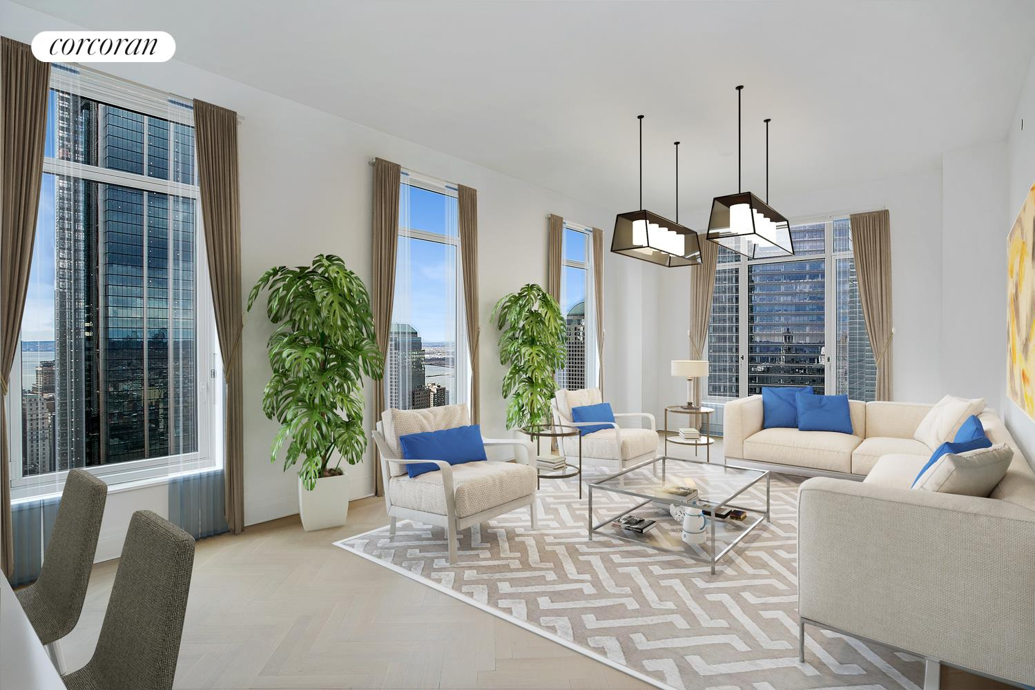 NEW TO MARKET!! Occupying the Southwest corner, this residence provides abundant light and dual exposures. The corner Master Bedroom Suite has total privacy within its own wing, and offers generous storage via 2 walk-in closets. Welcome to 5-star living at 30 Park Place, Four Seasons Private Residences New York, Downtown. Interior finishes include solid oak wood flooring with herringbone pattern in the formal rooms, Bilotta rift-cut oak kitchen cabinetry, Gaggenau appliances, marble bathrooms with Robert A.M. Stern custom-designed vanities. Services by legendary Four Seasons Hotels and Resorts. With residences beginning on the 39th floor, the sweeping views are unparalleled. Residents may enjoy access to Four Seasons Hotel amenities including a spa and salon facilities, 75' swimming pool, attended parking garage, restaurant, bar and lounge, ballroom facilities, and meeting rooms, as well as a comprehensive suite of a la carte services. The 38th floor is devoted to private residential amenities including a fitness center and yoga studio, private dining room, conservatory and lounge with access to loggias, Roto-designed playroom, and screening room. Developed by visionary Silverstein Properties, Inc. Masterfully designed by Robert A.M. Stern Architects. Pet friendly. Storage Included with the sale.