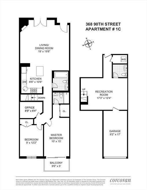 New York City Real Estate | View 368 90th Street, #1C | Floorplan