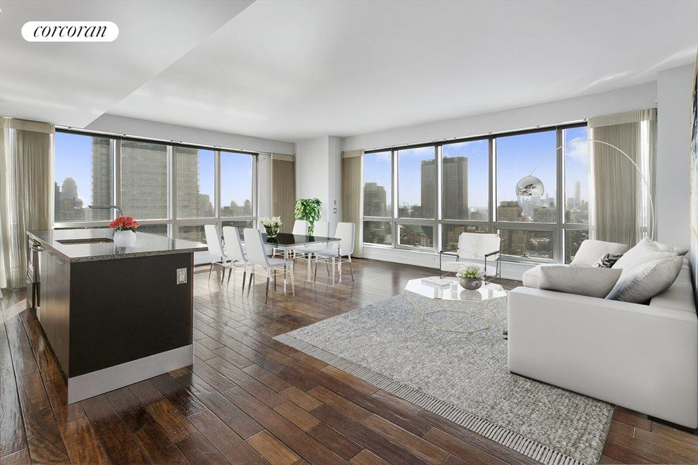 Virtually Staged Corner Living Room