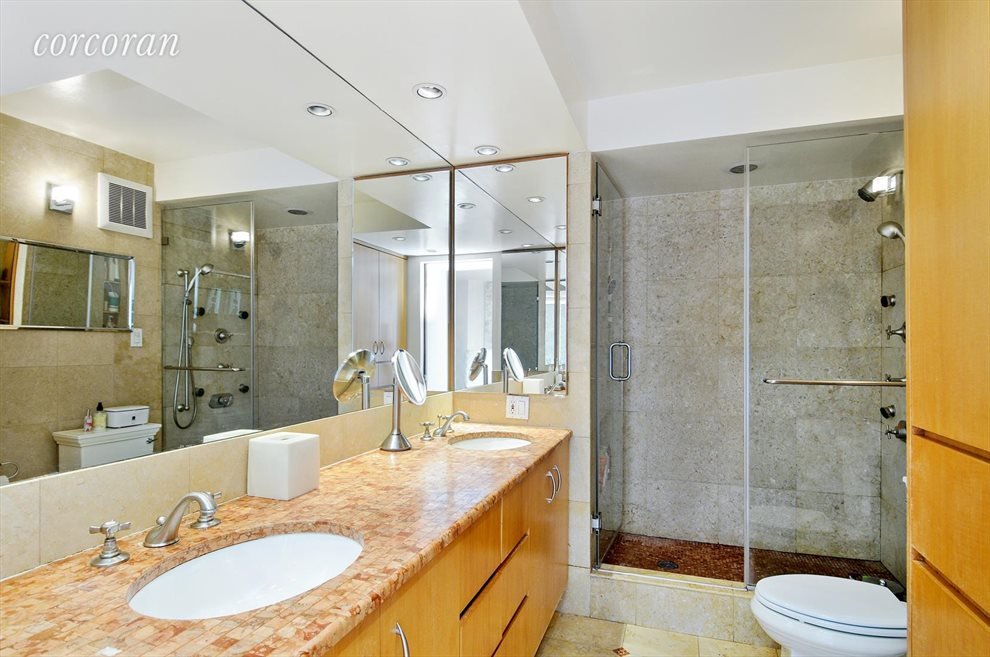 New York City Real Estate | View 330 East 38th Street, #43D | Large Master bath Double sink