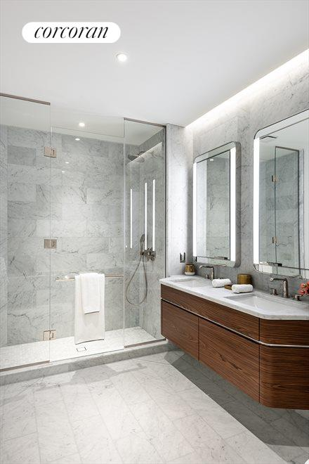 Bathroom with Double Vanity and Stall Shower