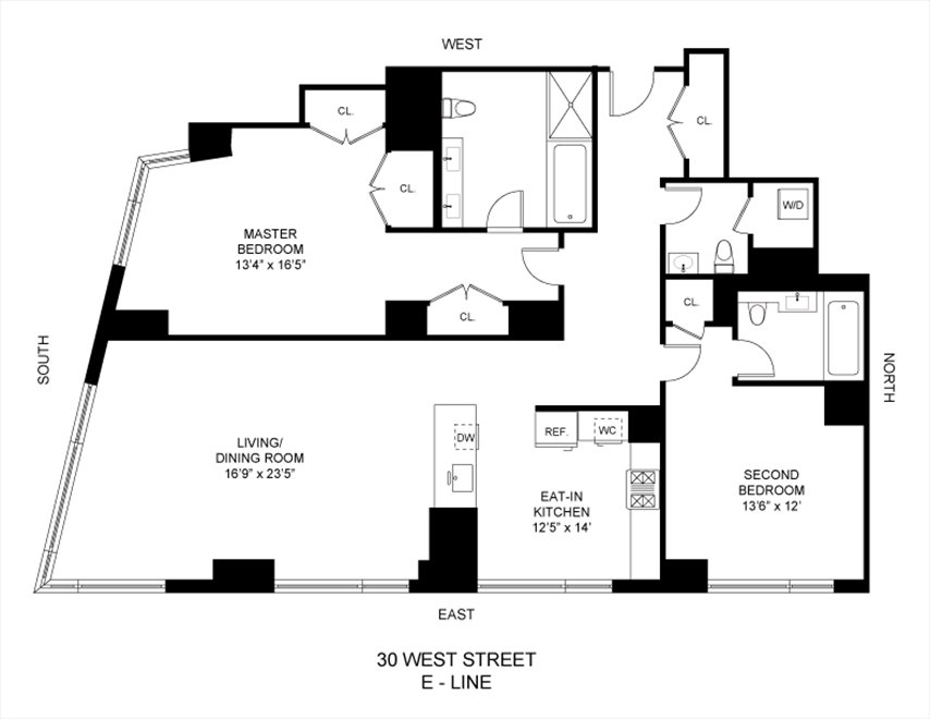 New York City Real Estate | View 30 West Street, #27E | Floorplan