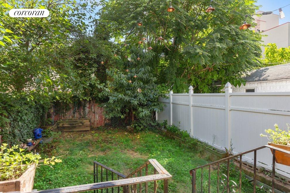 Lovely garden with a peach tree