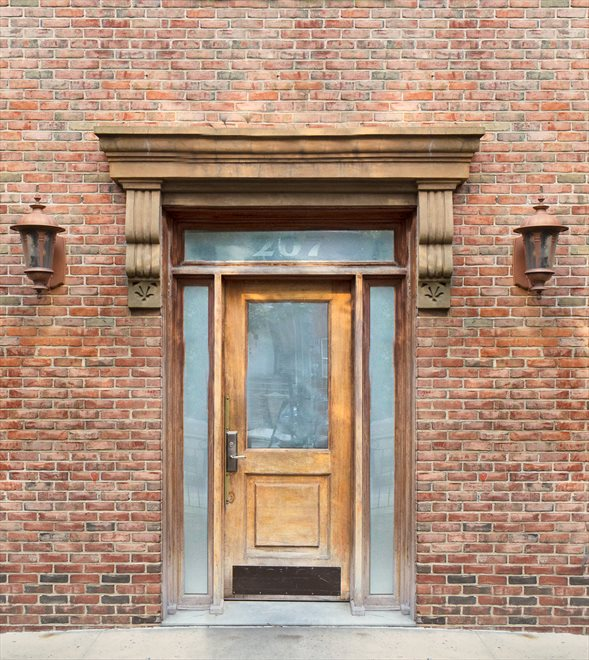 New York City Real Estate | View 207 22nd Street, #2A | Tasteful Brick Building Entrance