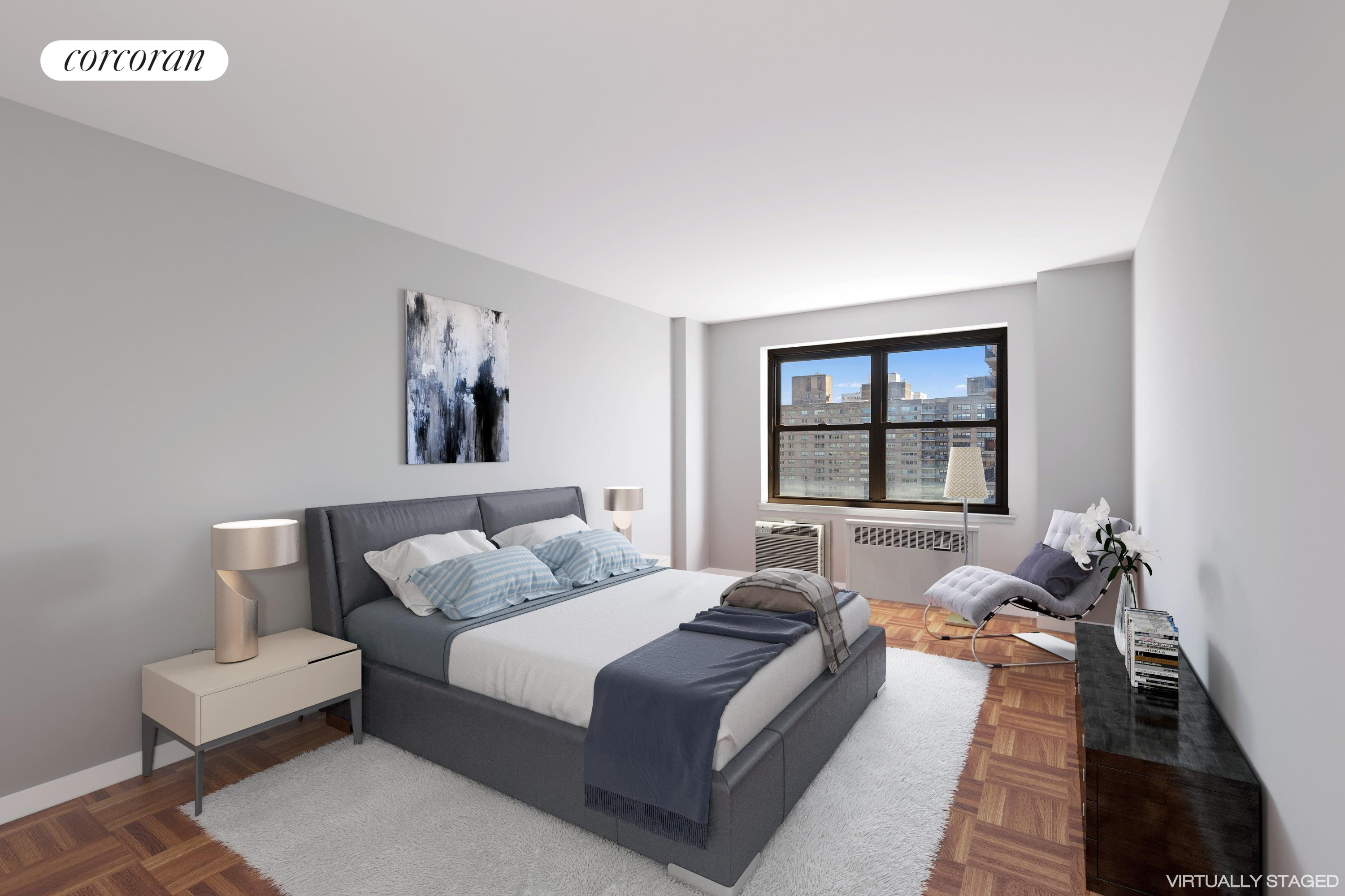 165 West End Avenue, 27K, Virtually Staged Living Room