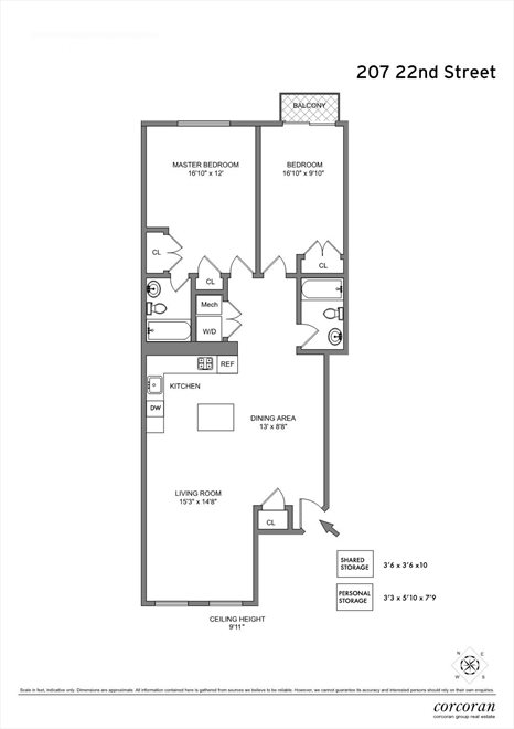 New York City Real Estate | View 207 22nd Street, #2A | Floorplan