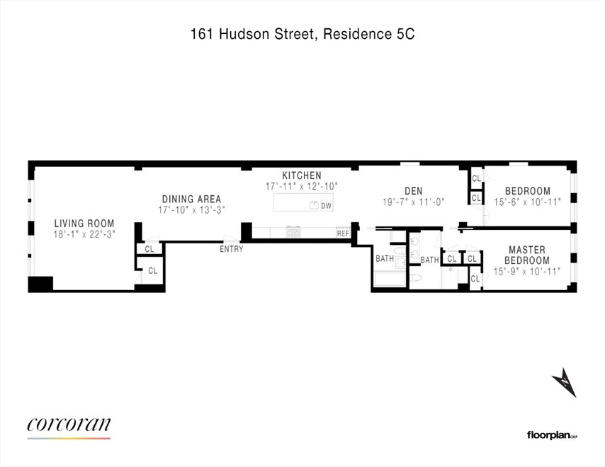 New York City Real Estate | View 161 HUDSON ST, #5C | Floorplan