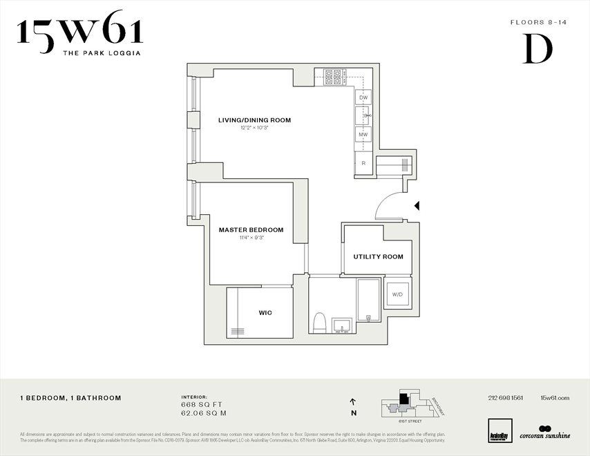 New York City Real Estate | View 15 West 61st Street, #8D | Floorplan