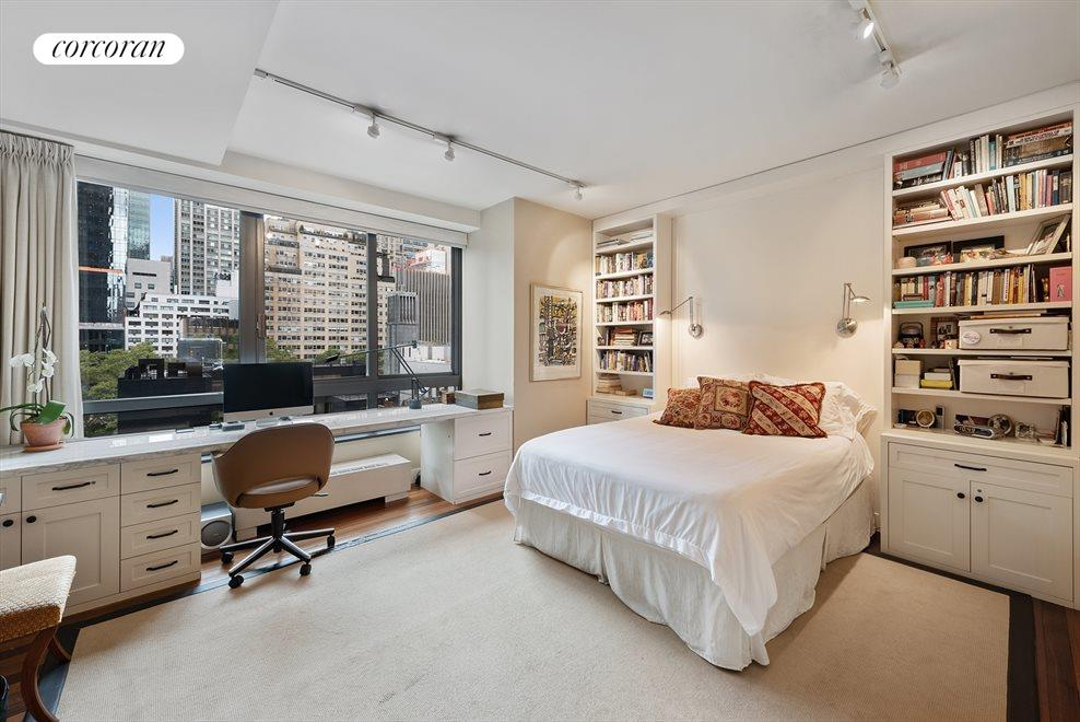 New York City Real Estate | View 100 United Nations Plaza, #9B | South-facing master bedroom with built-ins