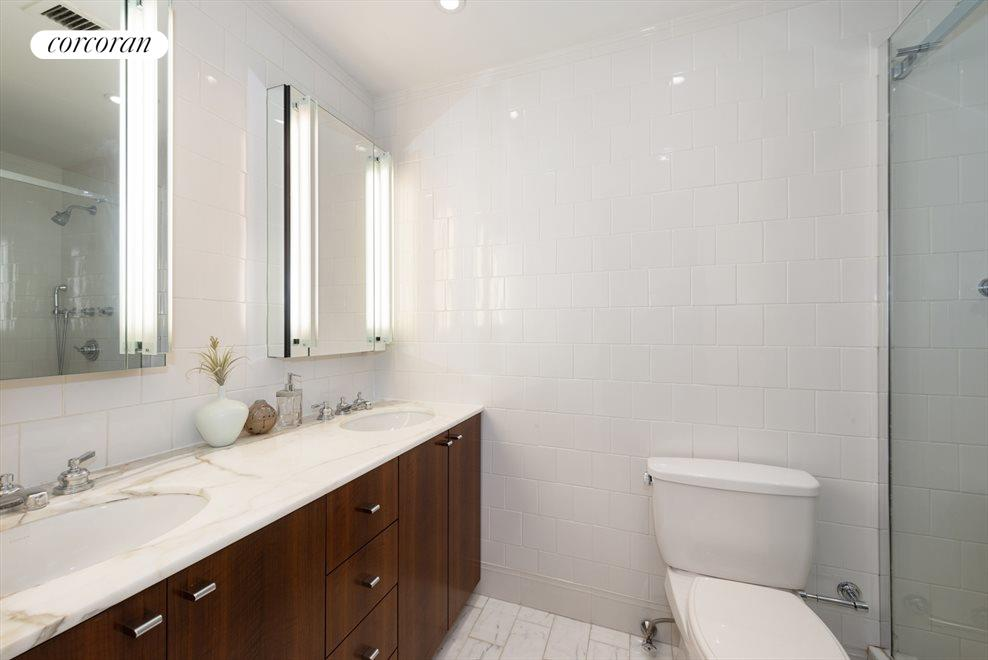 En suite master bathroom with extra large shower