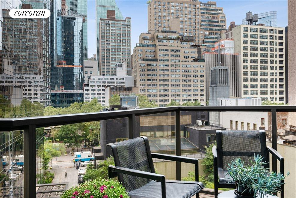Private balcony with city and East River views