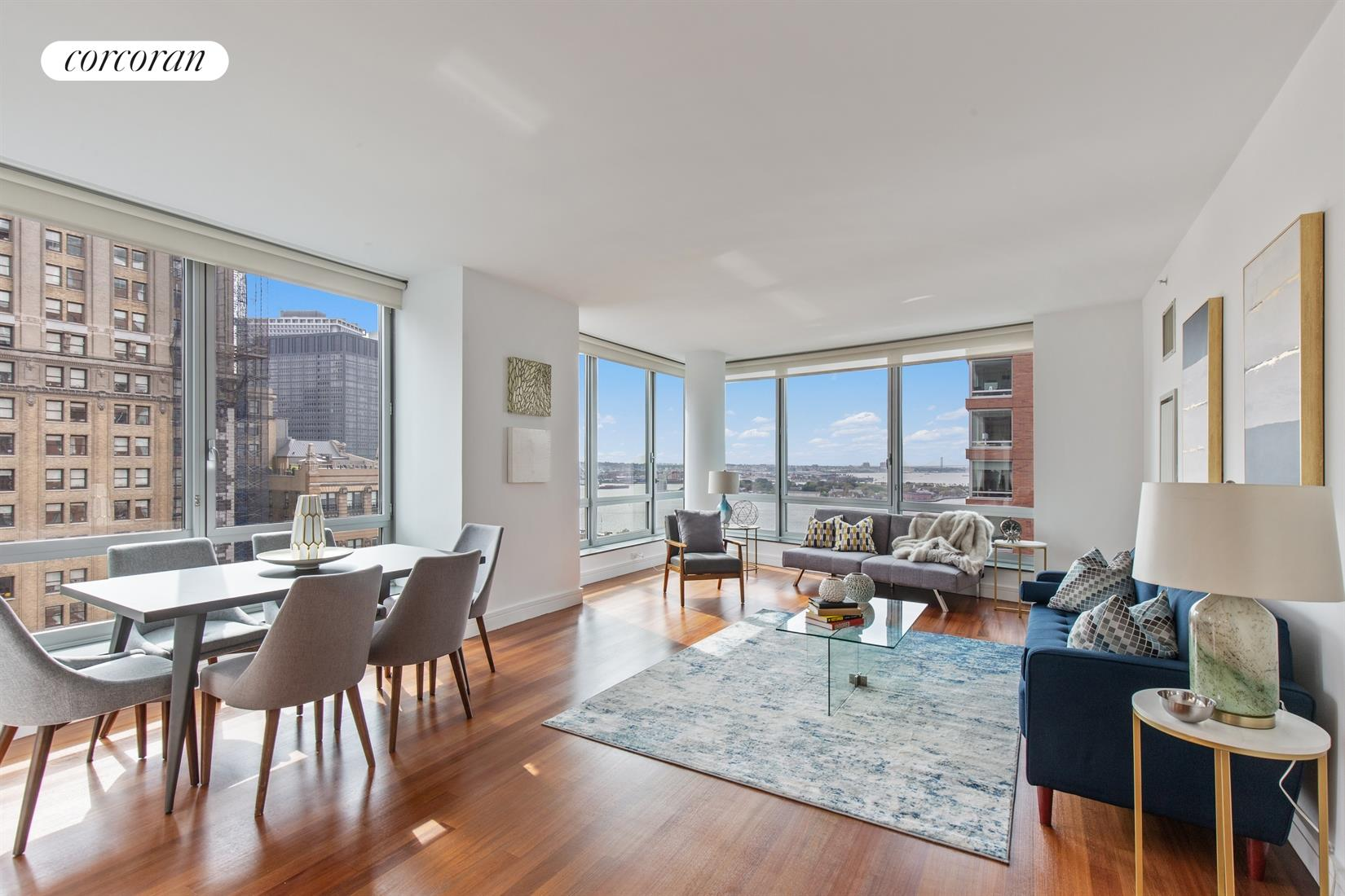 30 West Street, 27E, Corner Living Room with Floor to Ceiling Windows