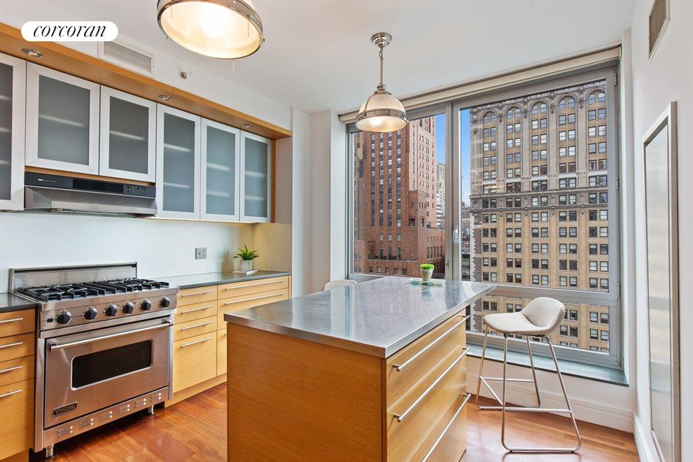 New York City Real Estate | View 30 West Street, #27E | Open Chef's Kitchen with Custom Island