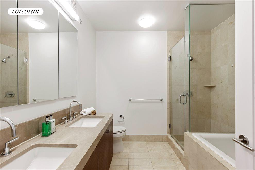New York City Real Estate | View 30 West Street, #27E | Marble Master Bathroom