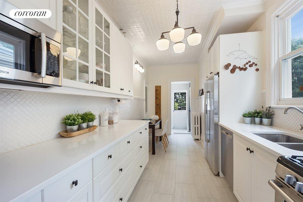 Renovated eat-in galley kitchen