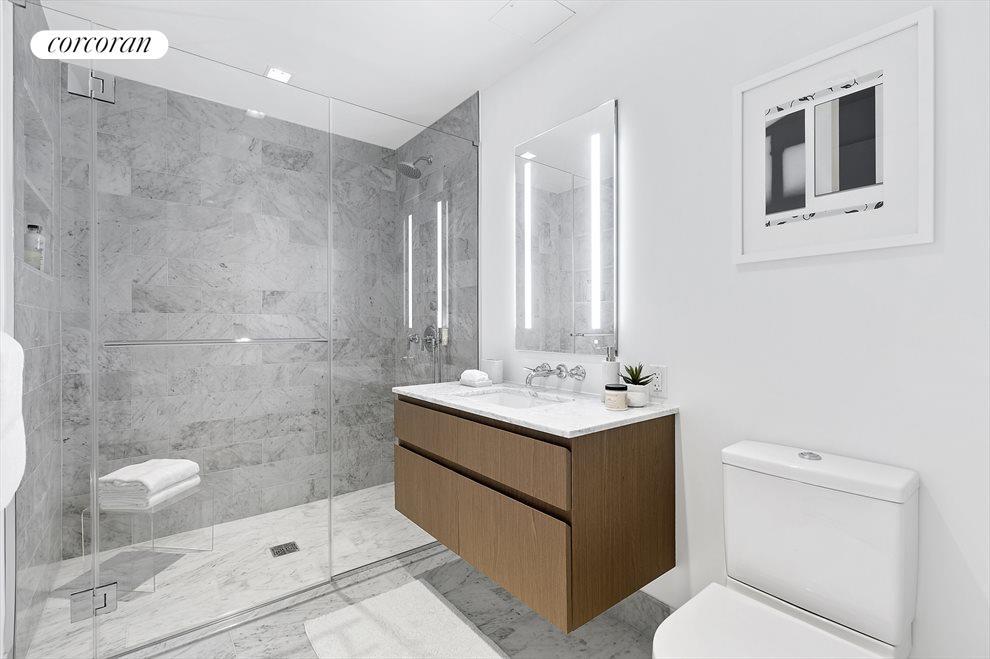 second full bathroom with walnut vanity