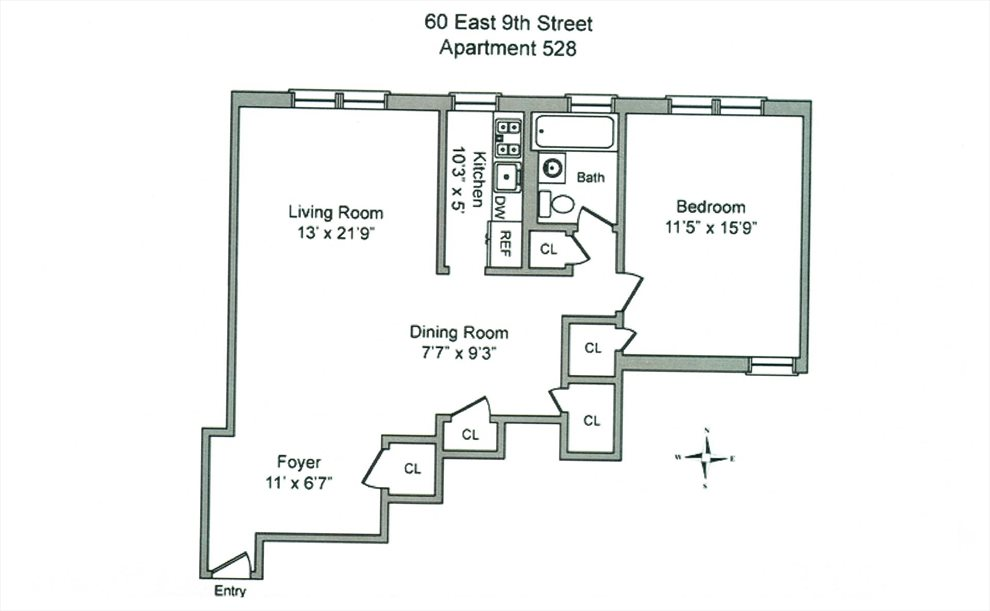 New York City Real Estate | View East 9th Street | Floorplan 1
