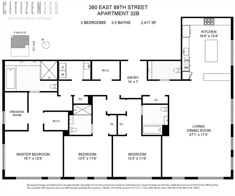 New York City Real Estate | View 360 East 89th Street, #32B | Floorplan