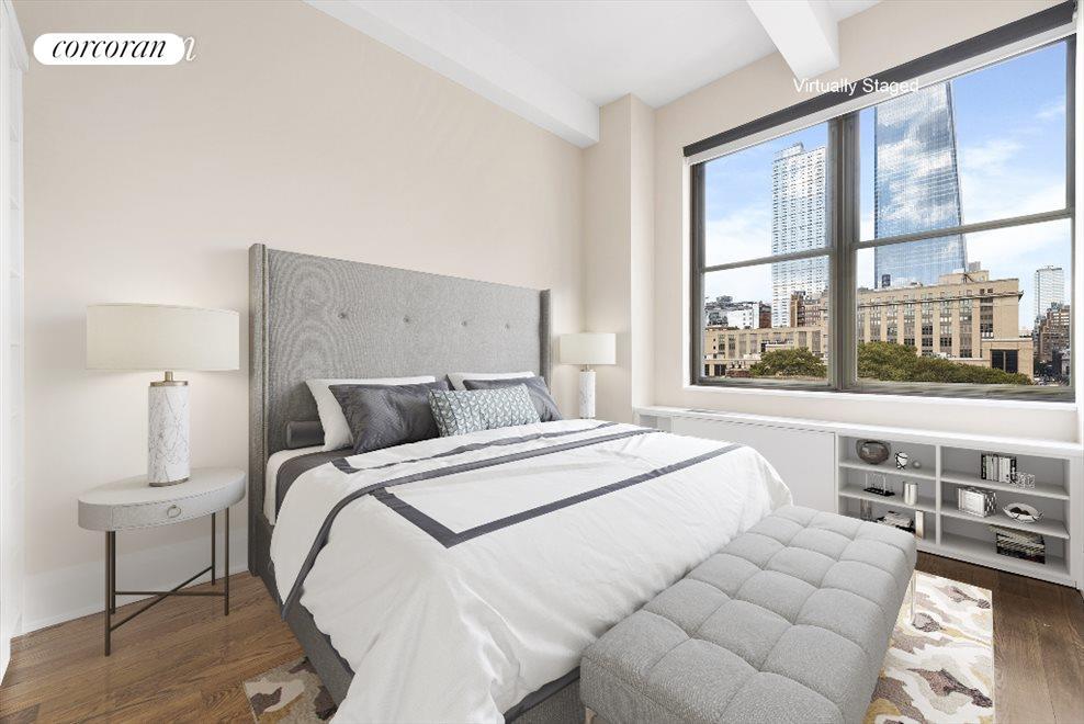 Bright Bedroom with Custom Closets