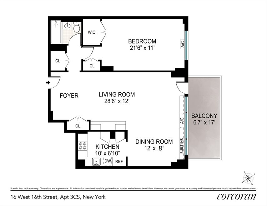 New York City Real Estate | View 16 West 16, #3CS | Floorplan 2