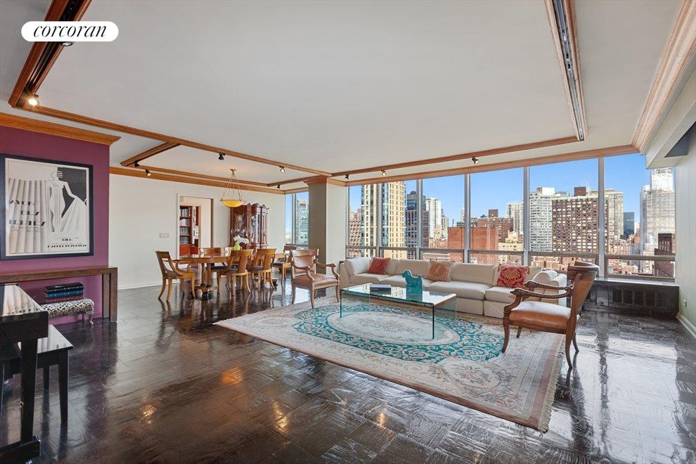 Grand Living Room With Full City and River Views