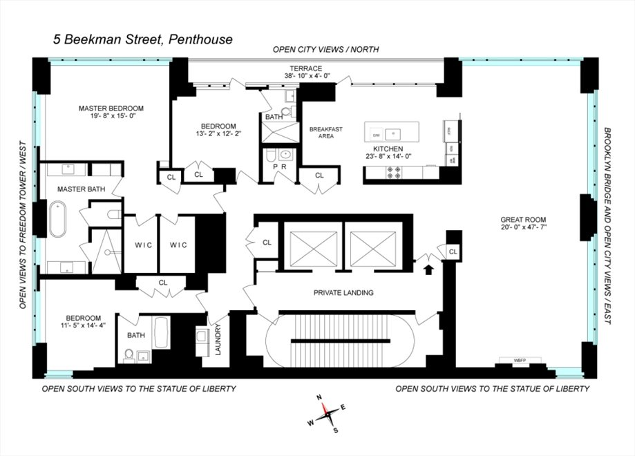 New York City Real Estate | View 5 BEEKMAN ST, #PH50 | Floorplan