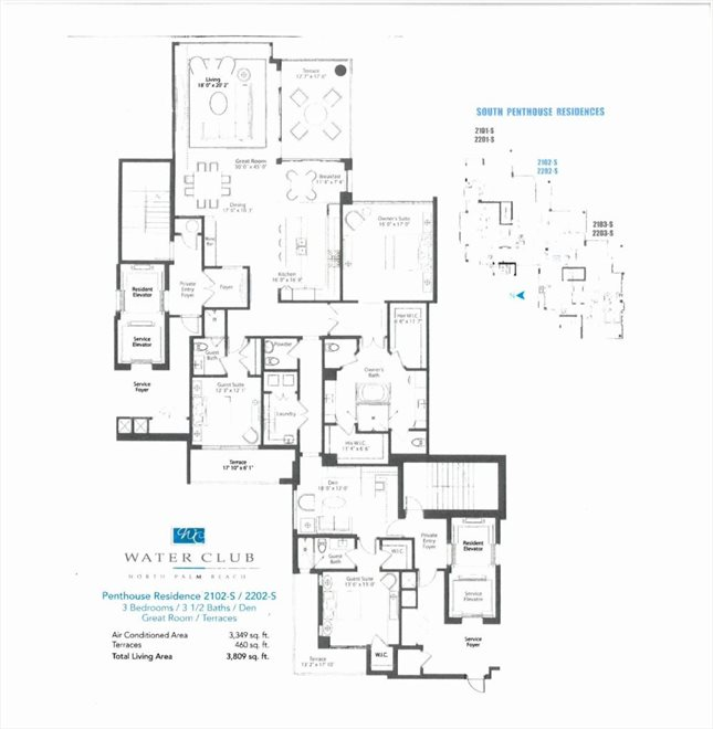 South Florida Real Estate | View 2 Water Club Way #2202 S | Floorplan