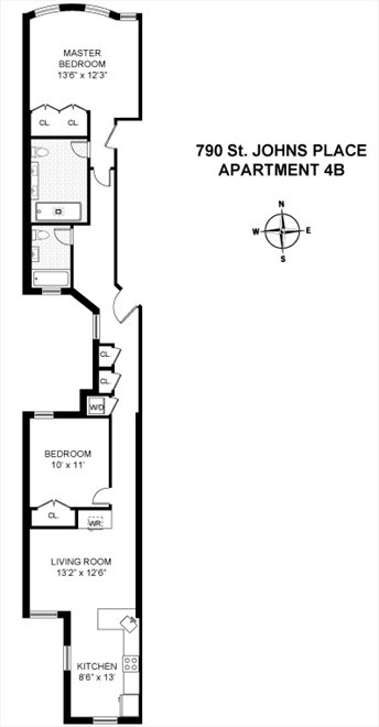 New York City Real Estate | View 790 Saint Johns Place, #4B | Floorplan