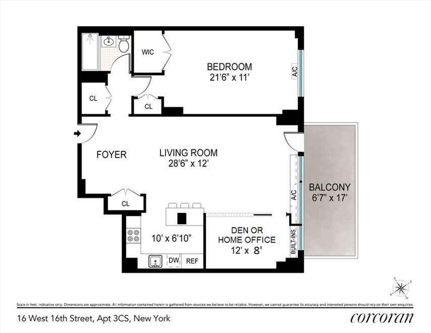 New York City Real Estate | View 16 West 16, #3CS | Floorplan 3