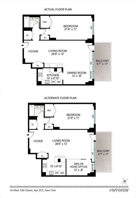 New York City Real Estate | View 16 West 16, #3CS | Floorplan 1