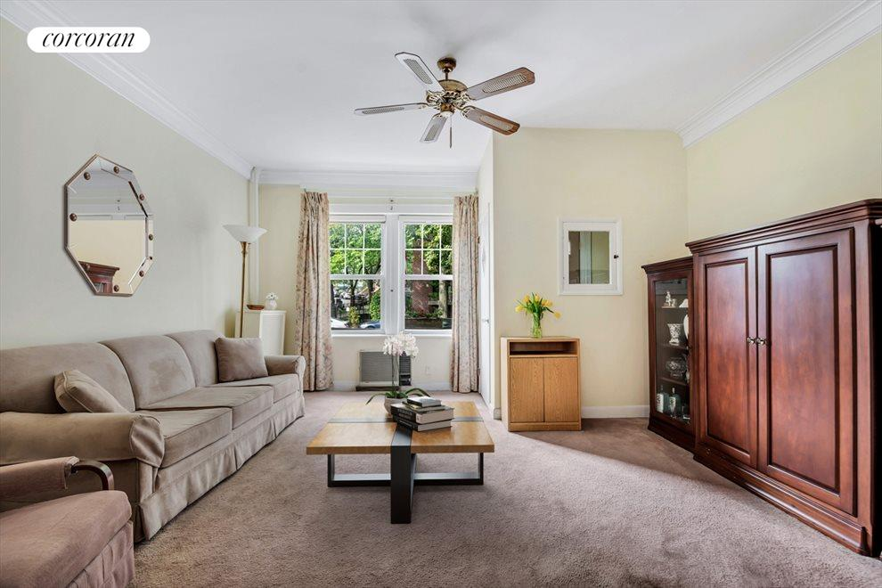 Generous living room with separate entrance foyer
